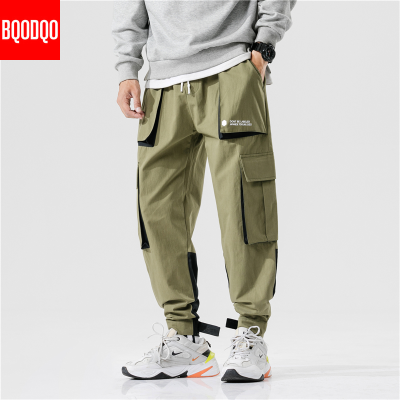 Cotton Casual Cargo Pants Men PLUS SIZE Black Autumn Hip Hop Jogger Fitness Trouser Male Japanese Streetwear Harajuku Harem Pant