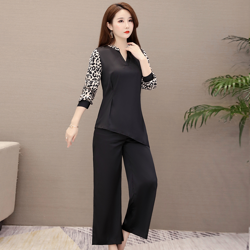 Plus Size Black Leopard Print Two Piece Sets Outfits Women V-neck Tops And Wide Leg Pants Suits Office Casual Fashion Sets 2019 30