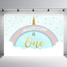 BEIPOTO Единорог тема вечерние настроить детский душ 1-й День рождения фон для фотографии фон столик для торта баннер B-289