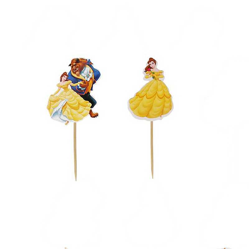 24Pcs de Coco Do Bolo da Festa de Aniversário Do Chuveiro de Bebê rei Leão de Beauty and the Beast Princesa Cupcake Topper Decoração de Casamento Suprimentos