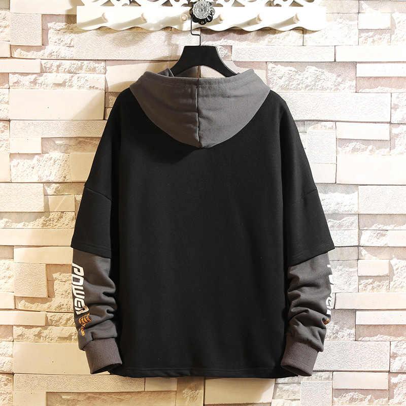 일본 스타일 캐쥬얼 o 넥 2020 봄 가을 프린트 까마귀 스웨터 남성 두꺼운 플리스 힙합 하이 스트리트웨어 의류