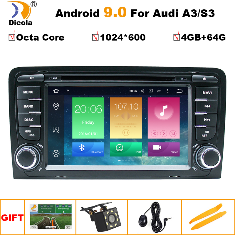 OCTA CORE Android 9 voiture DVD GPS pour Audi A3 2003-2011 avec lecteur dvd radio stéréo Audio auto multimédia écran navigation BT