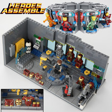 Super Heroes Iron Man Underground ห้องปฏิบัติการฐาน Mark ชุดเกราะ 503pcs SY305 BLOCK Marvel Avengers Infinity War(China)
