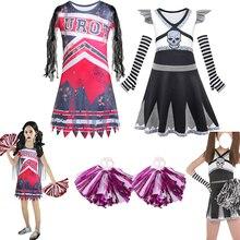 Kids Zombies Addison Cosplay Carnival Halloween Skeleton Costume for Girls Fancy Dresses