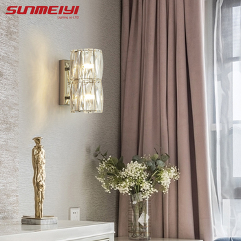 Crystal Wall Lamps Led Room Light In Living room Kitchen Bathroom Modern Industrial Wall Light For Bedroom Bedside Stairs Lamp bedroom light study wall lamp iron long arm rocker wall lamp bedside light industrial style adjustable wall light bathroom