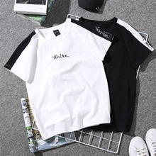 Summer New Women's T-shirt White Embroidered Monophonic Female T Shirt Striped Harajuku Couple Clothes Black Tops 90s Tees
