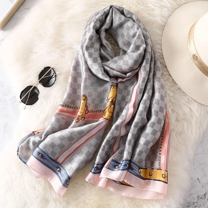 2019 luxury brand women plaid scarf fashion soft silk scarves female shawls Foulard femme Beach cover-ups wraps silk bandana