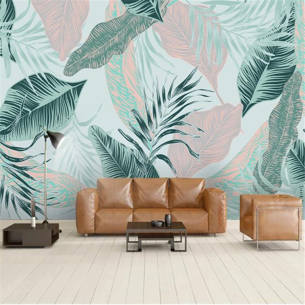Milofi custom wall paper Nordic minimalist abstract lines tropical leaves sofa bedroom background wall painting