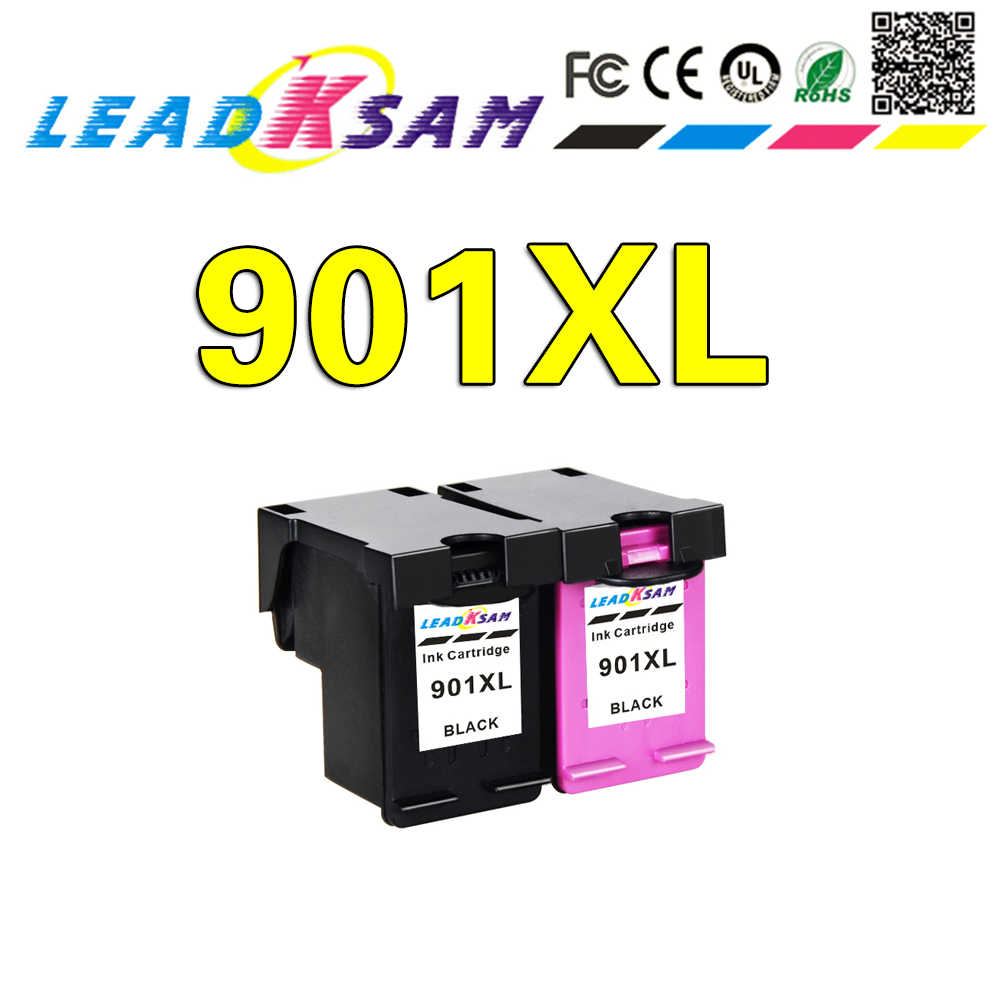 Leadksam 901XL Ink Cartridge Kompatibel untuk HP 901XL HP 901 Cartridge untuk Officejet 4500 J4500 J4540 J4550 J4580 J4680 Printer