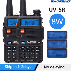 2PCS Baofeng UV-5R Walkie Talkie UV5R CB Radio Station 8W 10KM VHF UHF Dual Band UV 5R Two Way Radio for Hunting Ham Radios