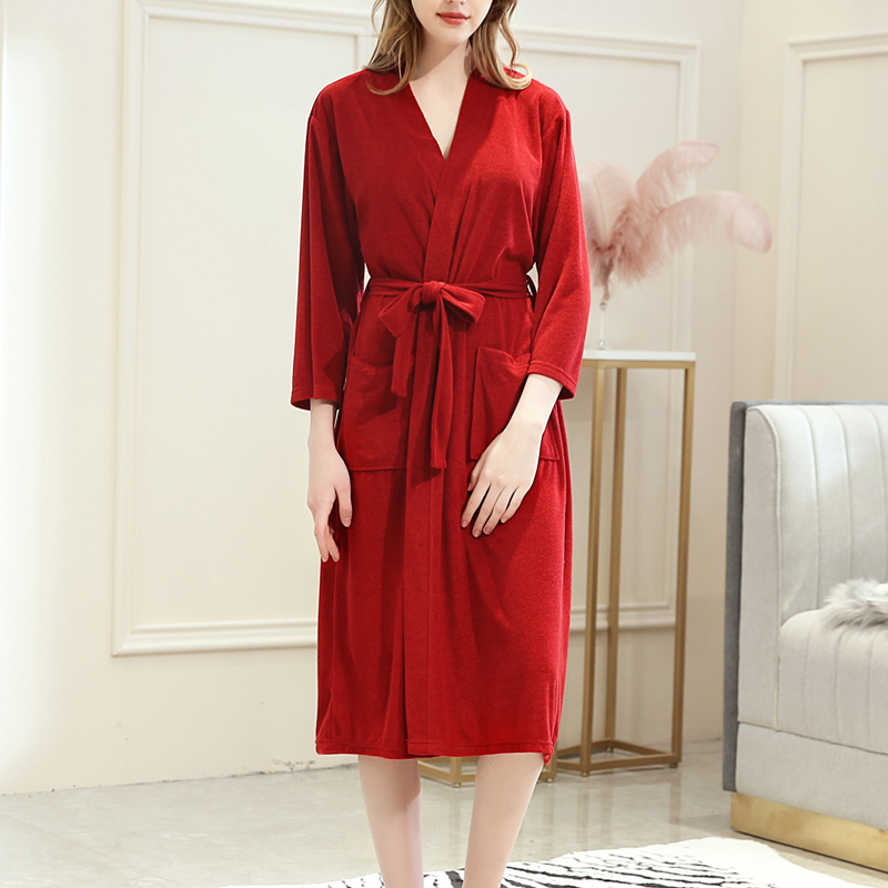 2019 Solid Full Sleeve Sleepwear Women Terry Cloth Robe Turkish Cotton Terry Kimono Collar Sexy Bath Robes Lounge Famale New