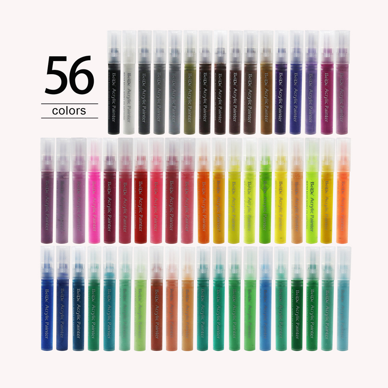 56Pack DIY Stone Painting Pens Non-Toxic Permanent Marker Pen 6mm Reversible Tip Write Smoothly Water Based Acrylic Paint Marker title=