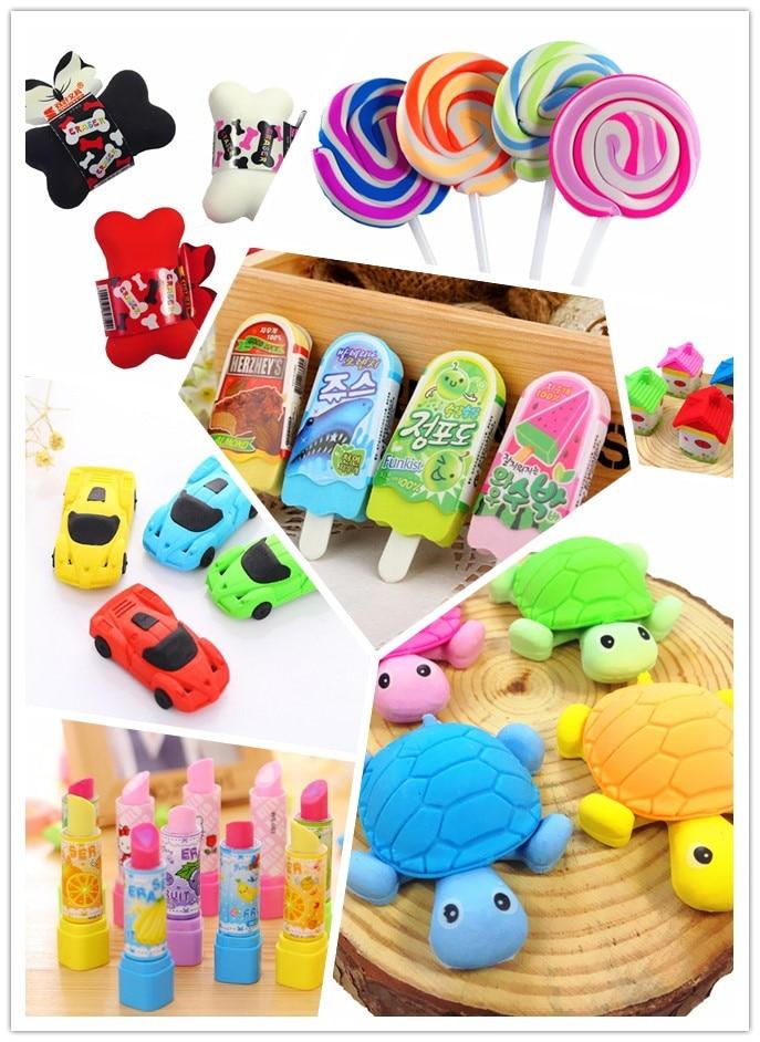 36pcs/lot Kawaii Rubber Eraser Eleven Design Cute Cartoon Animal And Mini School Supplies Learning Office