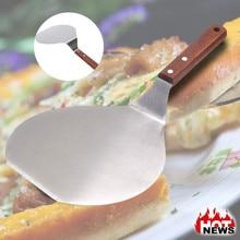 Aluminum Pizza Spatula Peel Shovel Cake Lifter Plate Holder Baking Kitchen Accessories Anti-scalding Oak Handle