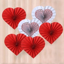 Red Love Paper Fan Decoration Colorful Hanging Paper Fans Party Decorations Supplies