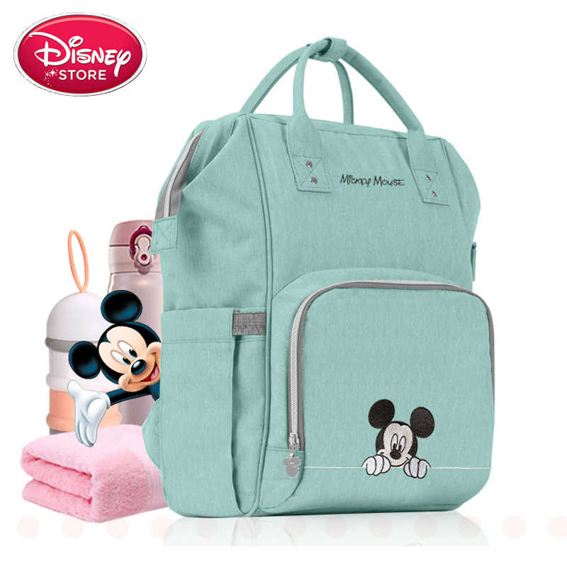 Disney torba na pieluchy USB karmienie butelką torby izolacyjne Minnie Mickey duża pojemność podróży plecak oxford dla niemowląt Mommy torebka