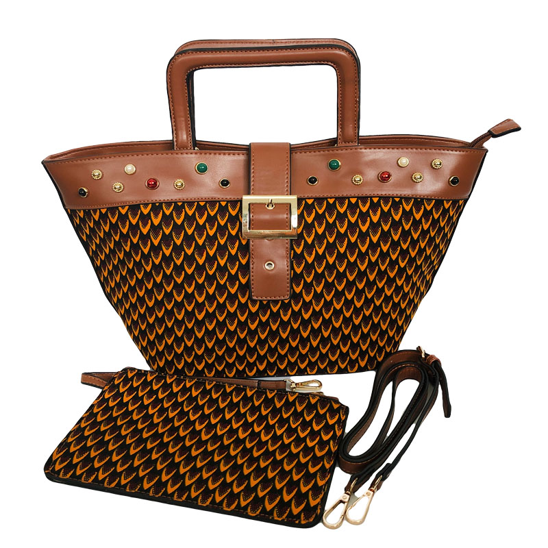 2019 Latest Design African Woman Handbags With Fabric Set New Fashion Made Wax Bag And Prints Fabric To Match Set For Party