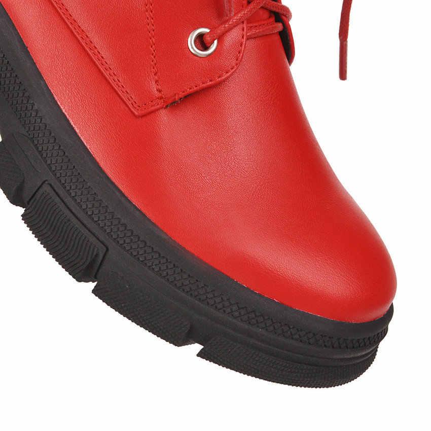 QUTAA 2020 kadınlar orta buzağı çizmeler yuvarlak ayak moda toka Lace Up fermuar kadın ayakkabı PU deri platformu kısa çizmeler boyutu 34-43
