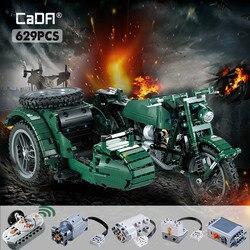Cada 629 sztuk RC motocykle klocki City Technic wojskowy niemiecki WW2 War zdalnie sterowanym samochodowym cegły zabawki dla dzieci