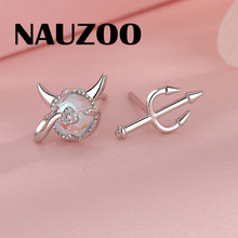 New Fashion Little Devil Moonstone Stud Earrings Women Girls Exqusiste Mini Small Round Crystal Earring Jewelry Gifts