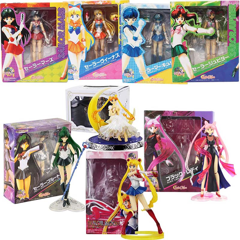 Sailor Moon Cartoon Figures Dolls Venus Jupiter Mercury Saturn Neptune Uranus Action figures Collectible Model Toys