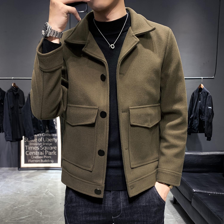 Brand NEW Autumn and Winter Men Coats Korean Casual Woolen Coat Jackets Windbreaker Men's Short Slim Overcoat Big Pocket Clothes