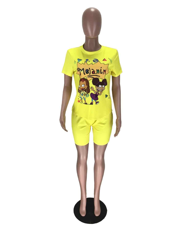 피트니스 바이커 반바지 Tracksuit 땀 정장 2 조각 세트 여성 TShirts 만화 생일 복장 라운지 착용 Chandal Mujer 2020