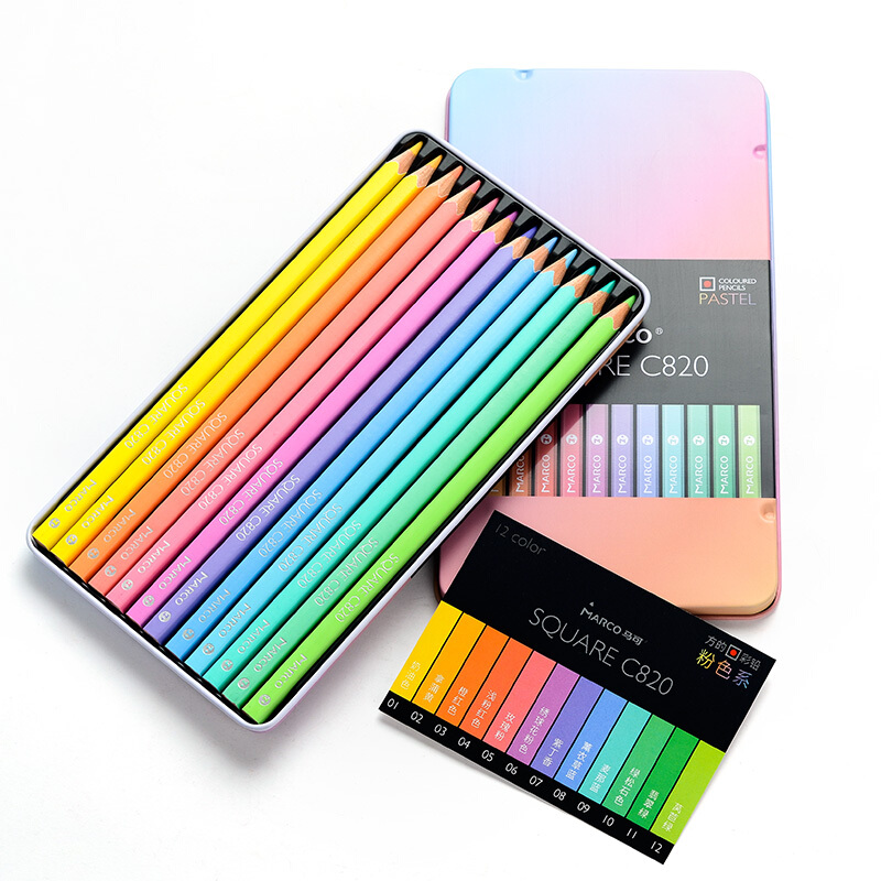 Marco Fashion Pastel Color Pencils SQUARE Shape 12/24 Andstal Colors Pencil Lapis De Cor Professional Colored Pencils For School
