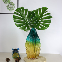 High quality leaves vase terrarium colored glass vase home decor Tabletop decorative vases for flowers wedding decoration leaf