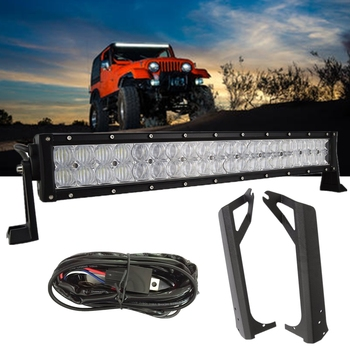 """Car Roof Led Bar Mounting Bracket With 5D 50 52"""" Led Light Bar Set For Jeep Wrangler TJ 1996-2006 With Wiring Harness Switch"""