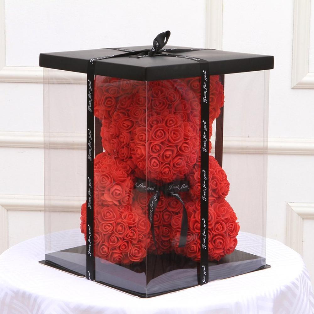 Hot 30.5x30.5x40CM 2019 Transparent Empty Gift Box For Artificial Teddy Bear Rose Flower Gifts Box Women Plush Bear Rabbit Gift