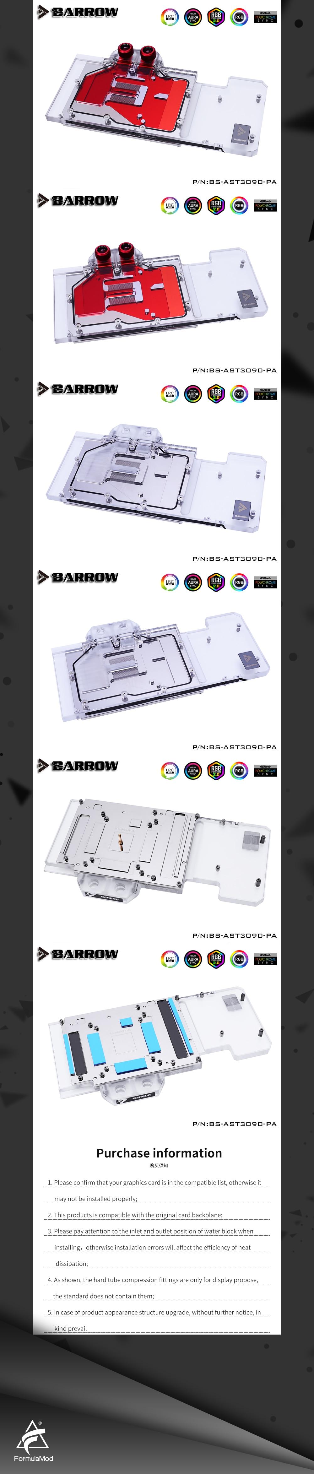 Barrow 3090 3080 GPU Water Block for ASUS TUF 3090/3080 Gaming, Full Cover 5v ARGB GPU Cooler, BS-AST3090-PA