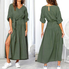 2019 Hot Women Long Dress Casual Autumn Spring Split Solid Sashes Fashion Dresses Long Sleeve V Neck Solid Color Loose Dress