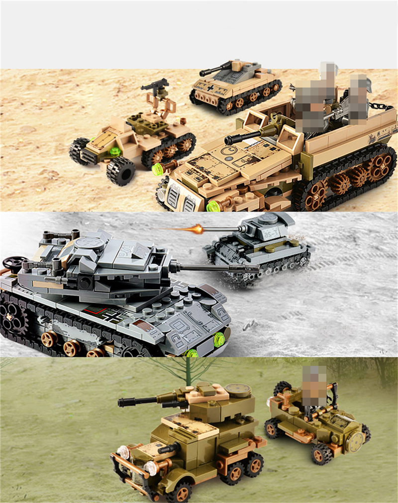1061PCS Tank Building Blocks Toys Mini figures Vehicle Aircraft Boy Educational Block Military Compatible LegoINGlys Bricks (8)