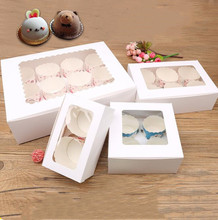 10pcs White Cardboard Cupcake Box Kraft Paper Cake With Clear Window Wedding Party Birthday Gift For