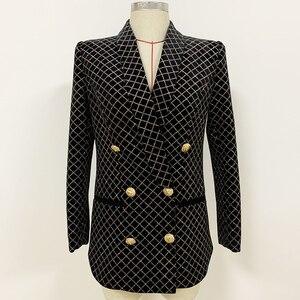 Image 2 - HIGH STREET 2020 Newest Designer Blazer Womens Lion Buttons Shawl Collar Classic Plaid Glitter Embellished Velvet Blazer Jacket