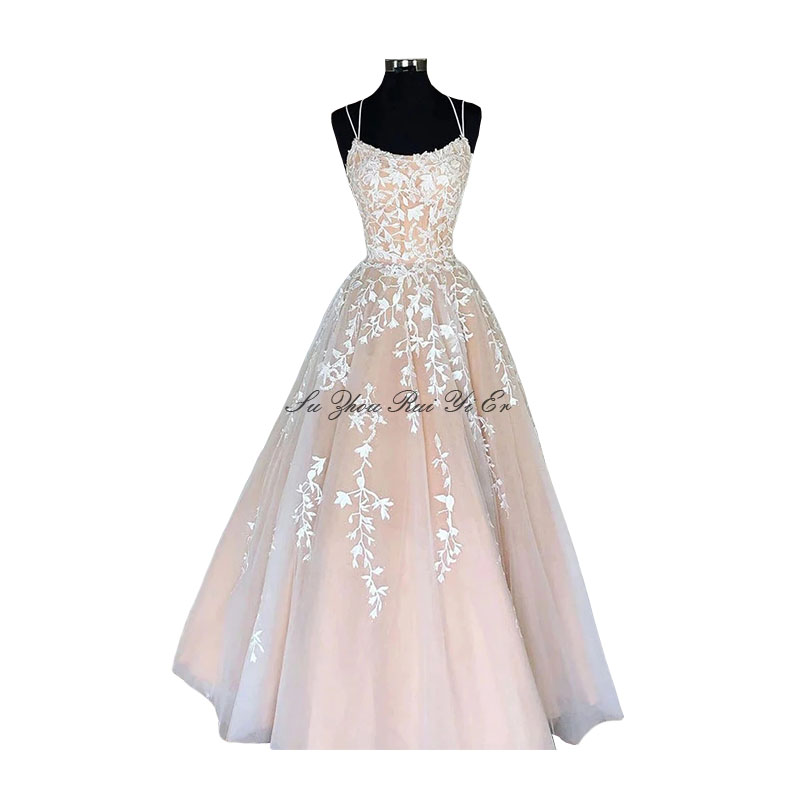 Prom Dresses White Appliques Prom Gown Corset Back Champagne Lining A-line Tulle Long Dress Formal Evening Gown Vestidos De Gala