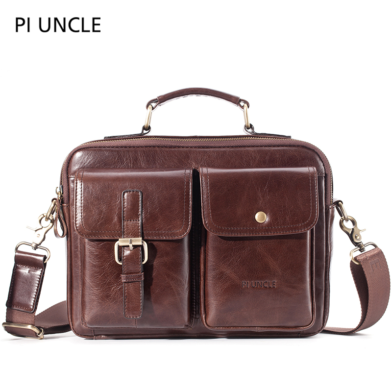 Mens Briefcase Pack Genuine Leather Shoulder Bag Male Vintage Crossbody Bags Men Messenger Multi Compartment Handbags LeatherTop-Handle Bags   -