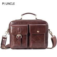 Mens Briefcase Pack Genuine Leather Shoulder Bag Male Vintage Crossbody Bags Men Messenger Multi Compartment Handbags Leather