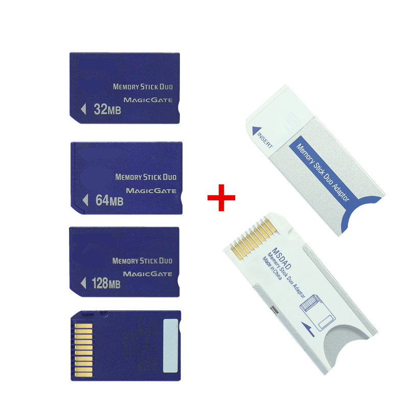 Original!!! Memory Stick Duo Card 32MB 64MB 128MB Memory Card MS Card With Memory Stick Converter/ Adapter For PSP