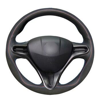 Hand-stitched Black Genuine Leather Anti-slip Car Steering Wheel Cover for Honda Civic Civic 8 2006-2011 (3-Spoke)