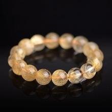 Браслет из 100% натурального золота с рутилированным кварцем