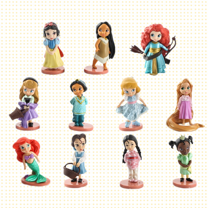 Disney 11pcs/set Princess Action Figures Toys Rapunzel Snow Cinderella White Snow Fairy Rapunzel Doll Decoration Children Gift