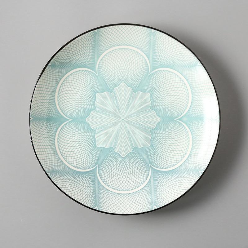 Креативный японский стиль 8 керамическая тарелка дюймовая посуда для завтрака говядины десертное блюдо для закусок простое мелкое блюдо домашнее блюдо для стейков - Цвет: 6