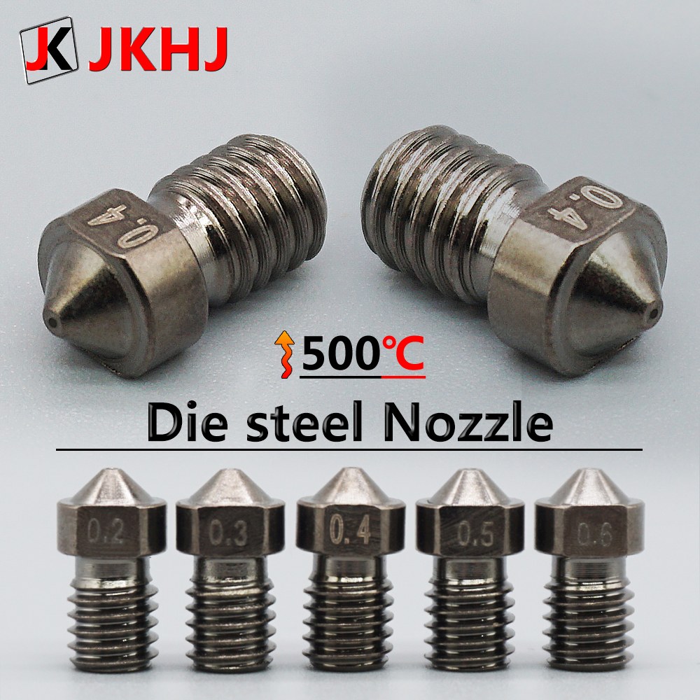 3D Printer Parts Nozzle E3D V6 Die Steel Nozzle V5 High Temperature Hardened Steel Nozzle M6 Thread 0.2/0.3/0.4/0.5/0.6 1.75mm