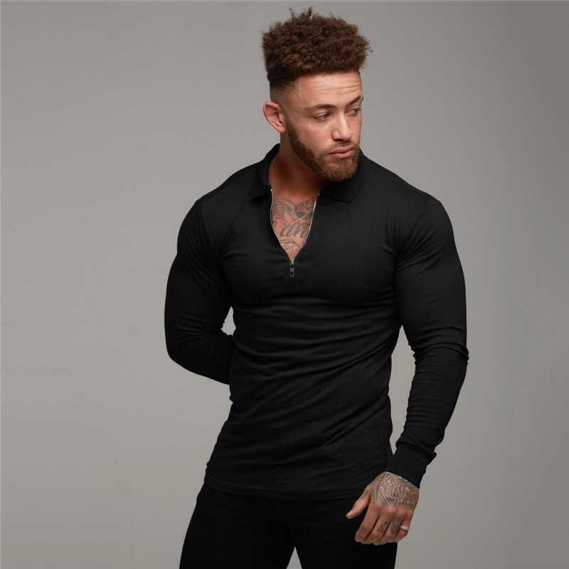 Polo   Shirt Solid color Long Sleeve Casual Men Fashion Slim Fit Fitness Bodybuilding Men's   Polo   Shirt Autumn Cotton polosshirt