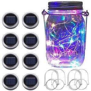 Солнечные лампы Mason Jar, 8 шт 20 светодиодный гирлянда для сада с крышкой, гирлянда с вешалками (без банок)