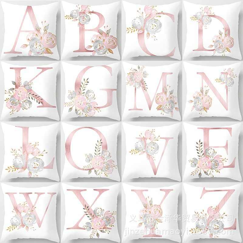 1PCS Pink 45x45cm Letter Decorative Pillow Cushion Covers Pillowcase Cushions for Sofa Polyester Pillow Cover for Home Goods