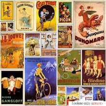 Serie de carteles Vintage-bicicleta real-tela-bicicleta francesa Vintage-cartel de estaño metálico impreso Bar restaurante Club