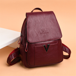 Image 2 - New V Letter Women Genuine Leather Backpacks Female Sac Travel Back Pack Ladies Bagpack Mochilas School Bags For Teenage Girls